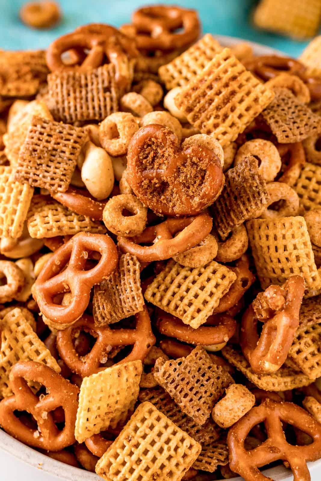 Close up of Party Mix in bowl