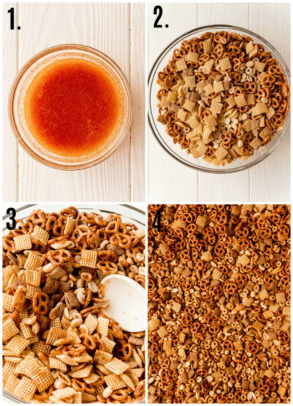 Step by step photos on how to make Texas Trash Party Mix