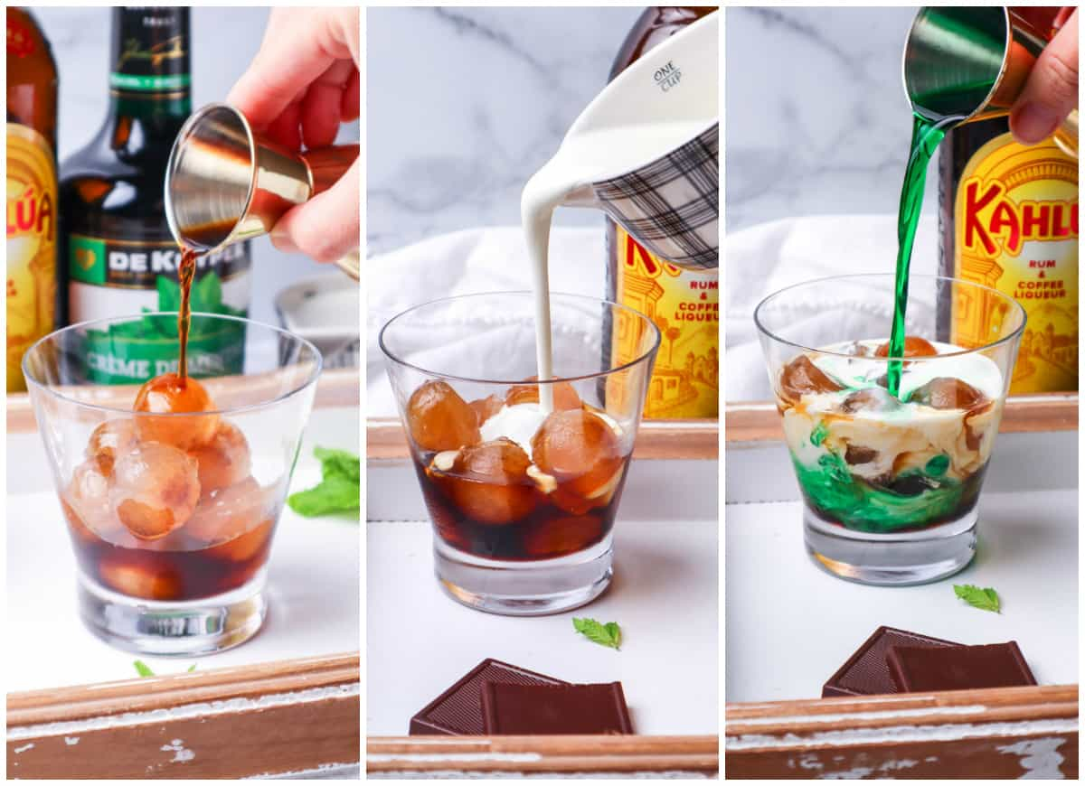 Step by step photos on how to make a Thin Mint White Russian Recipe
