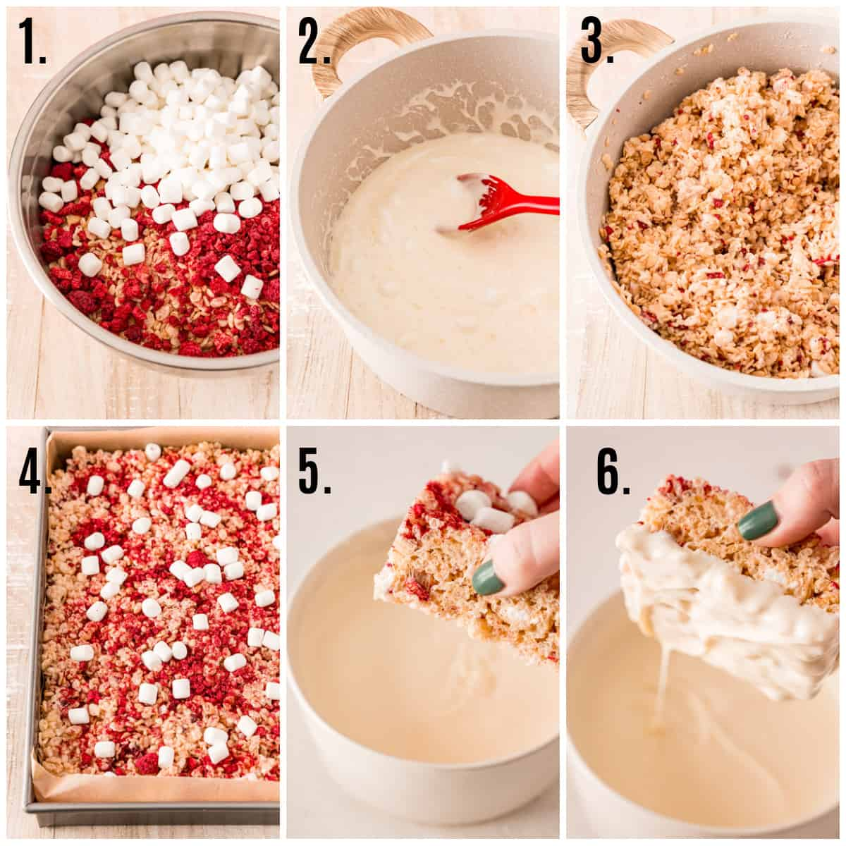 Step by step photos on how to make Valentine's Rice Krispie Treats