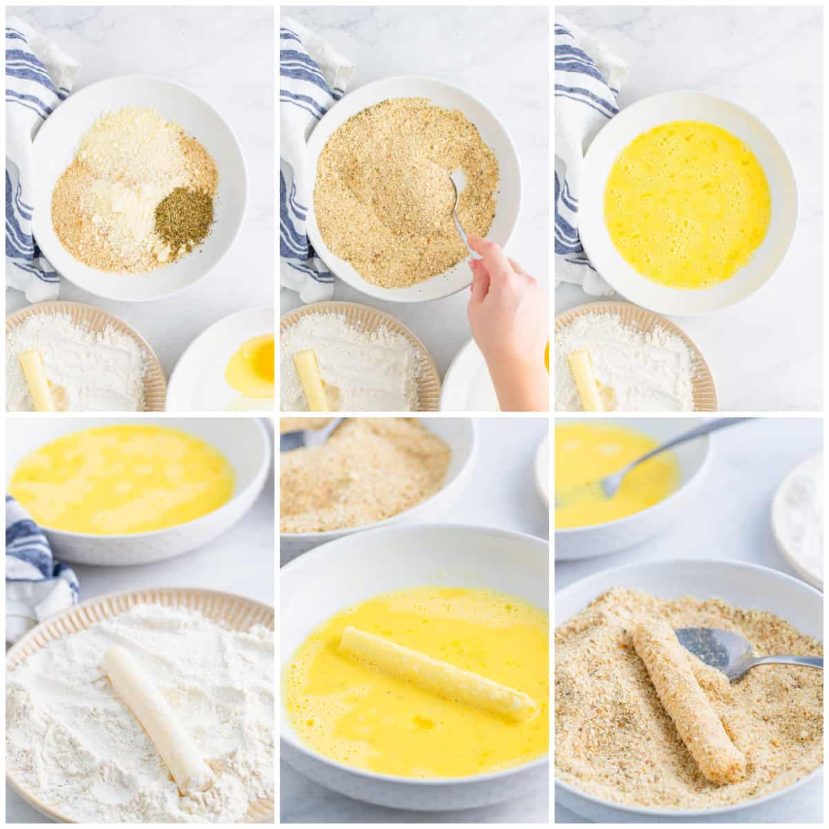 Step by step photos on how to make Mozzarella sticks