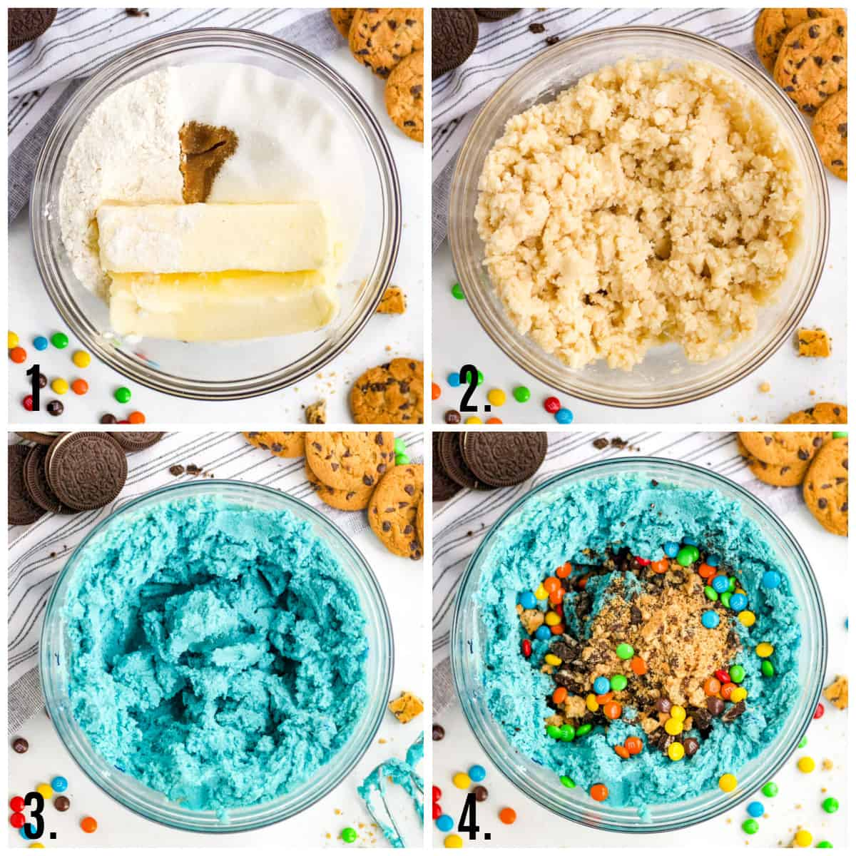 Step by step photos on how to make Cookie Monster Edible Cookie Dough