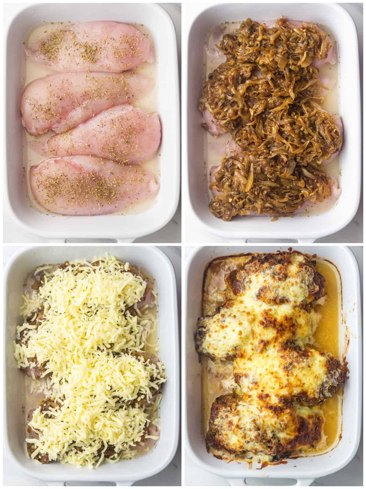 Step by step photos on how to make French Onion Chicken