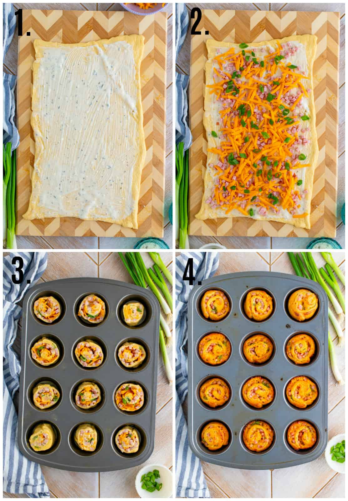 Step by step photos on how to make Ranch Ham and Cheese Pinwheels