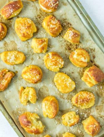 Pretzel Bites on baking sheet square image