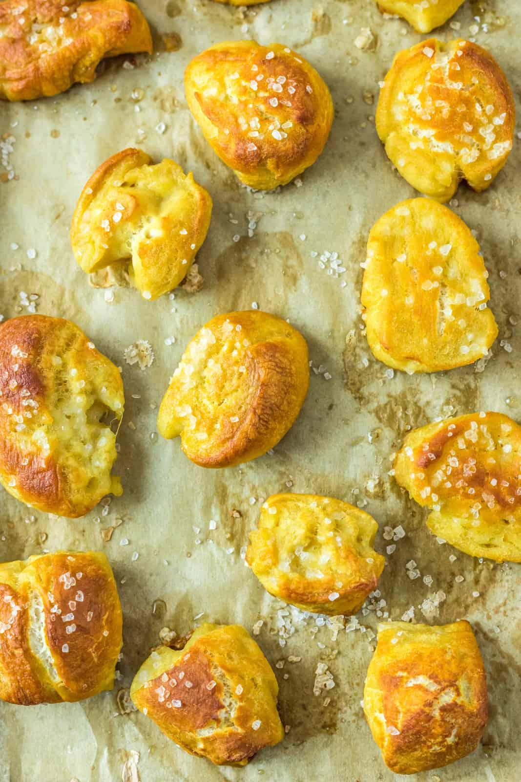 Close up of pretzels on baking sheet