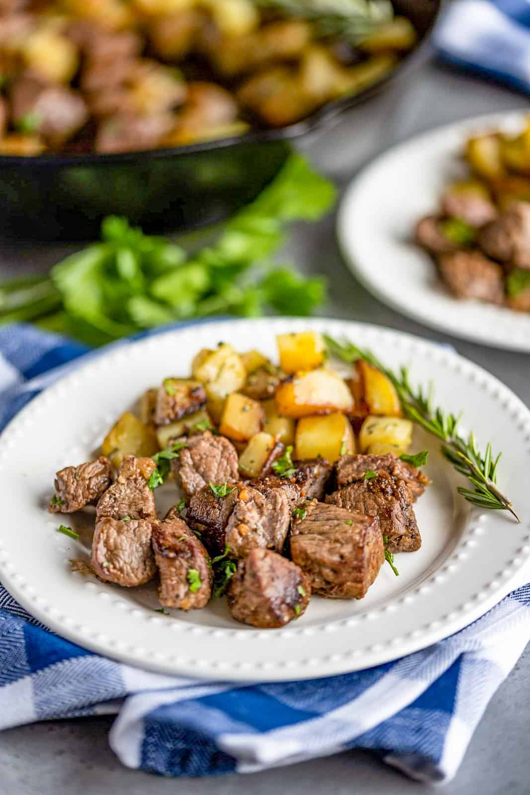 White plate with Steak Bites and Potatoes