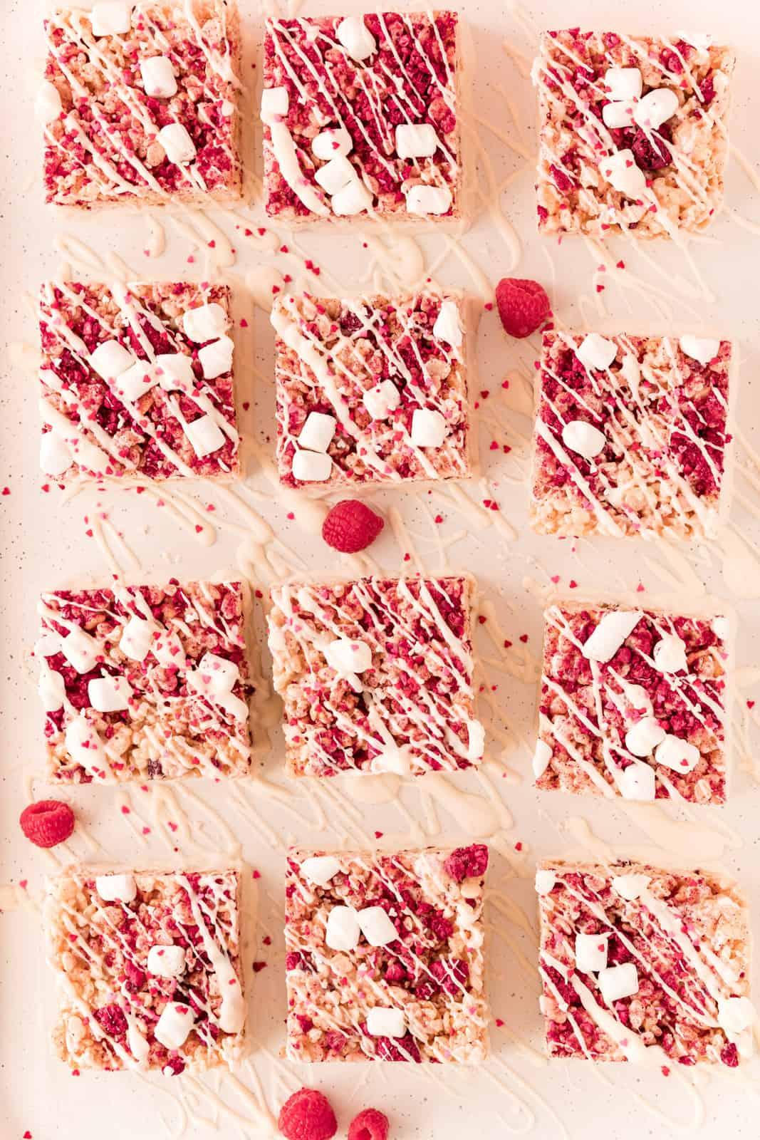 Overhead photos of cut up Galentine's Rice Krispie Treats