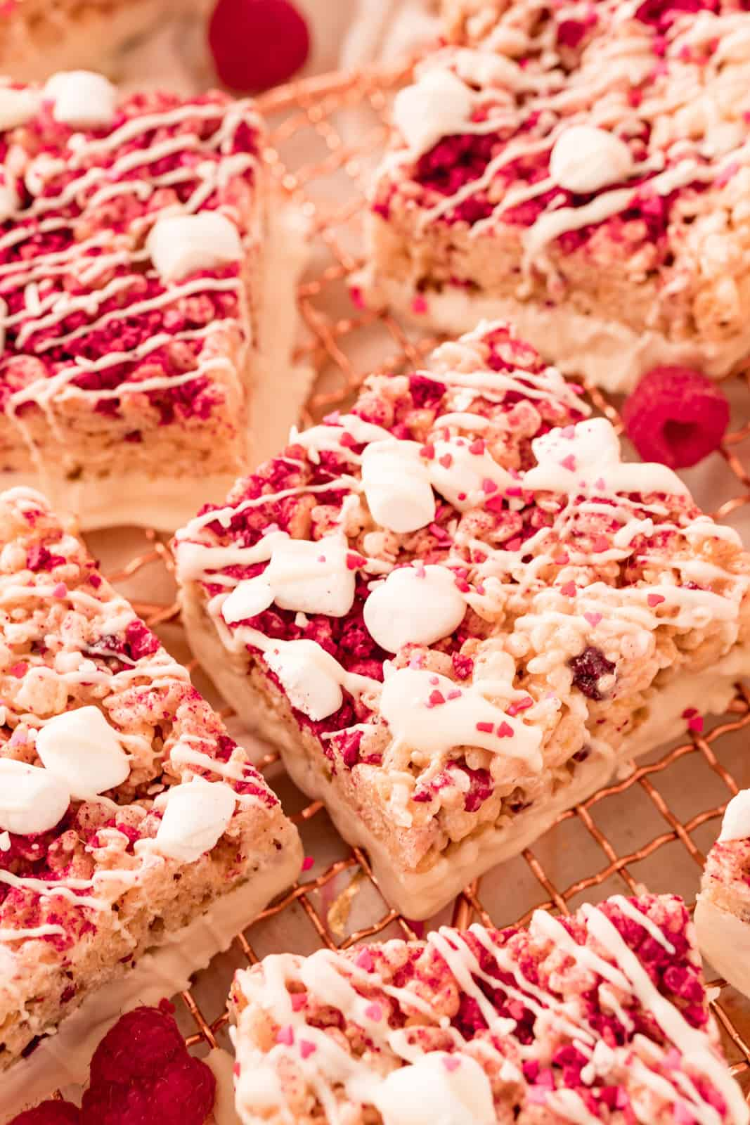 Close up of one Valentine's Rice Krispie Treat