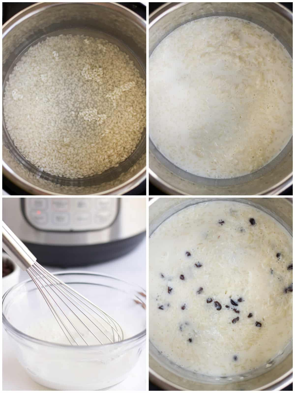 Step by step photos on how to make Instant Pot Rice Pudding