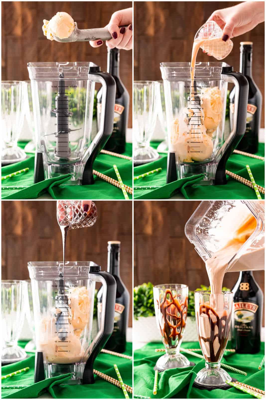 Step by step photos on how to make a Baileys Chocolate Milkshake