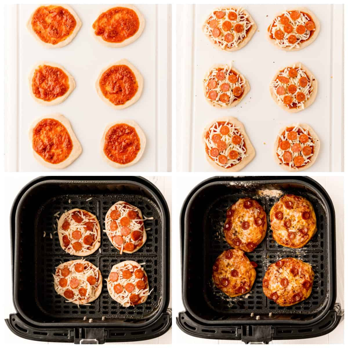 Step by step photos on how to make Air Fryer Pizza