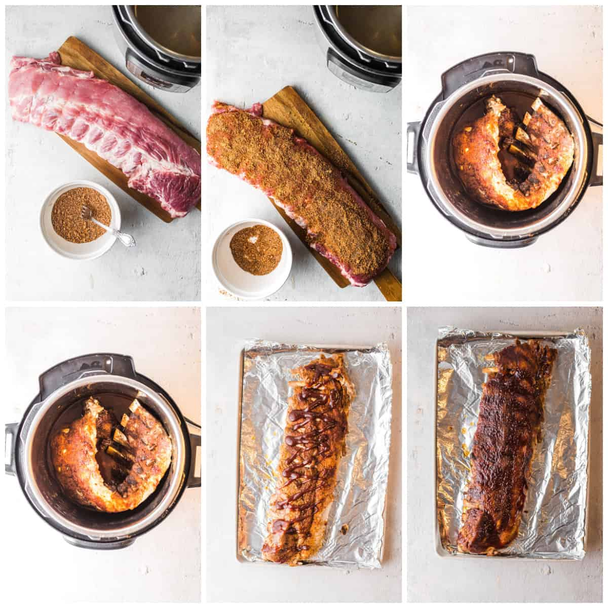 Step by step photos on how to make Instant Pot BBQ Ribs