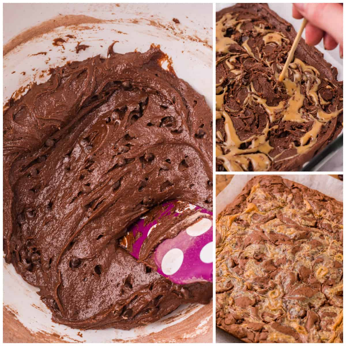 Step by step photos on how to make Caramel Brownies