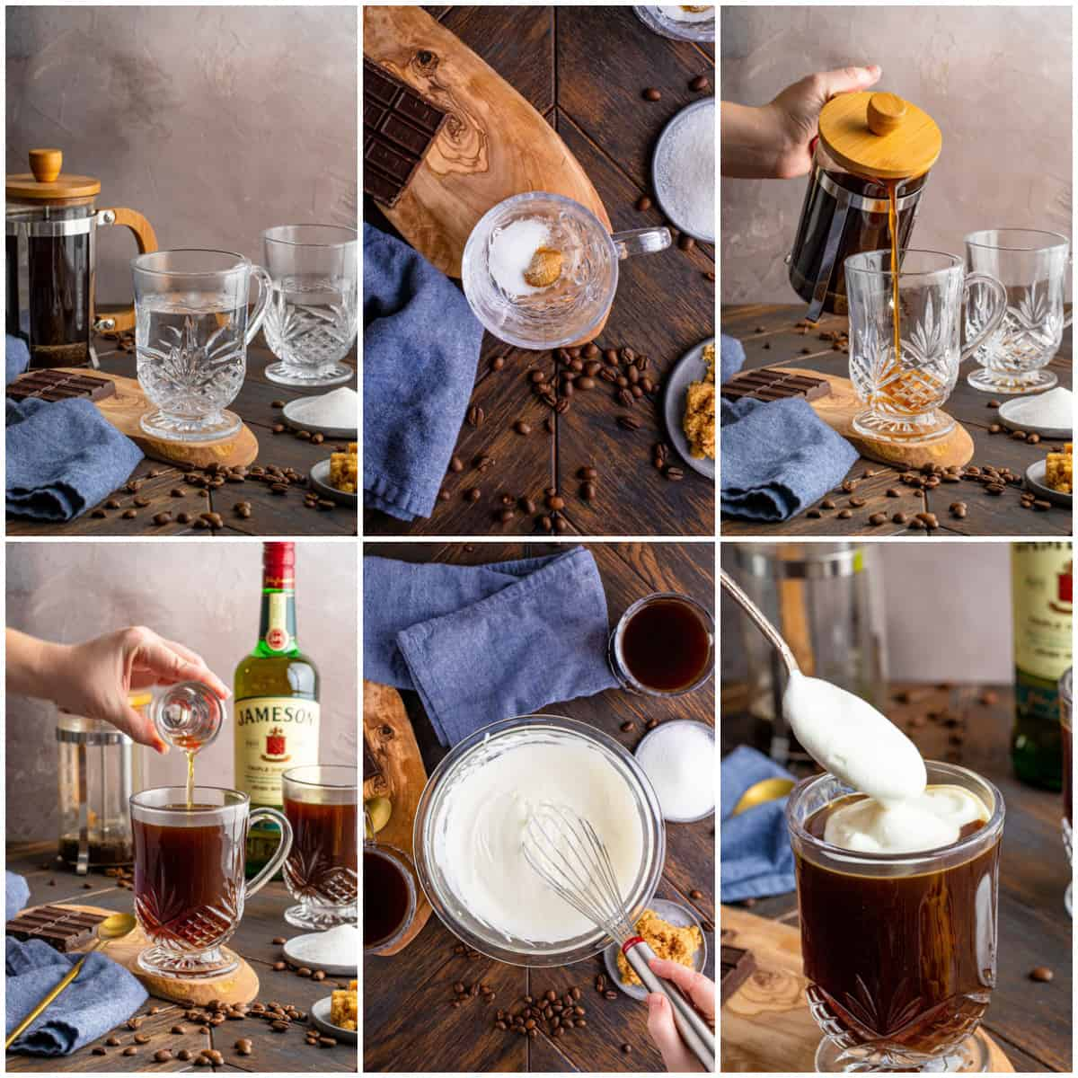 Step by step photos of how to make an Irish Coffee Recipe