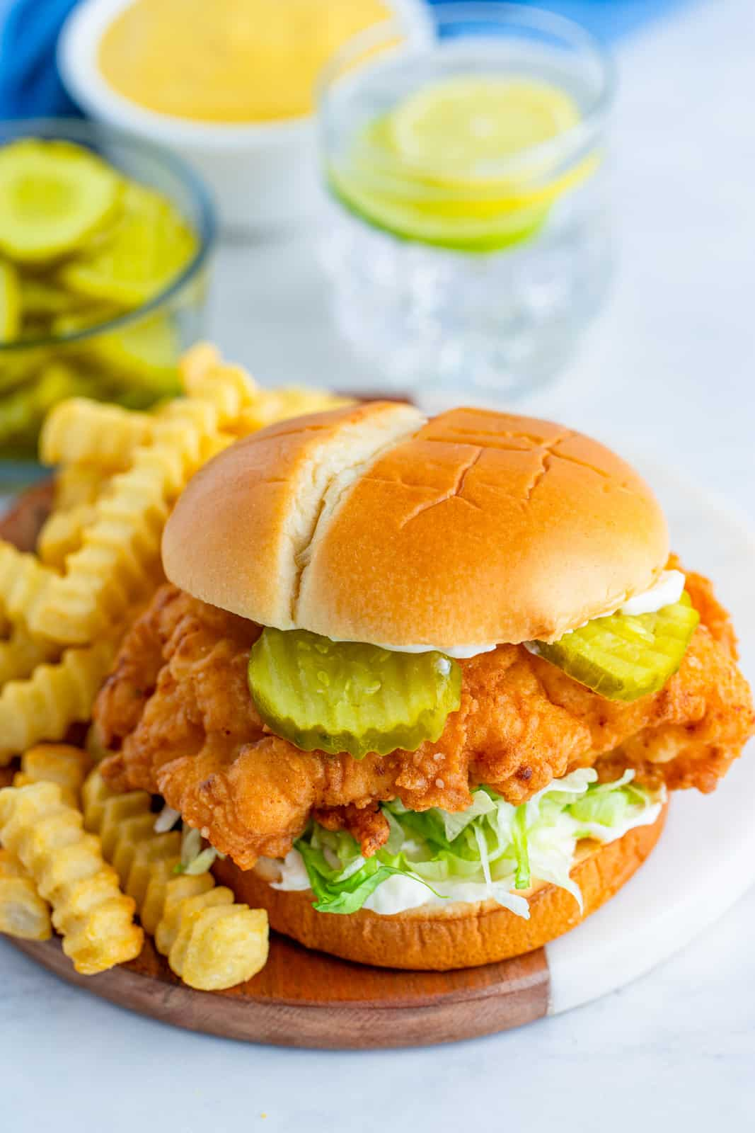 Crispy Chicken Sandwich overhead showing lettuce and pickles