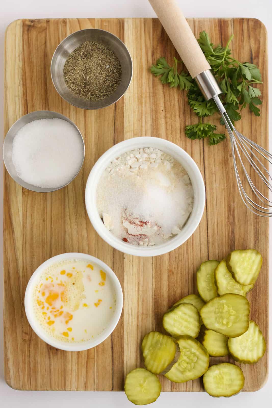 Ingredients needed to make Fried Pickles