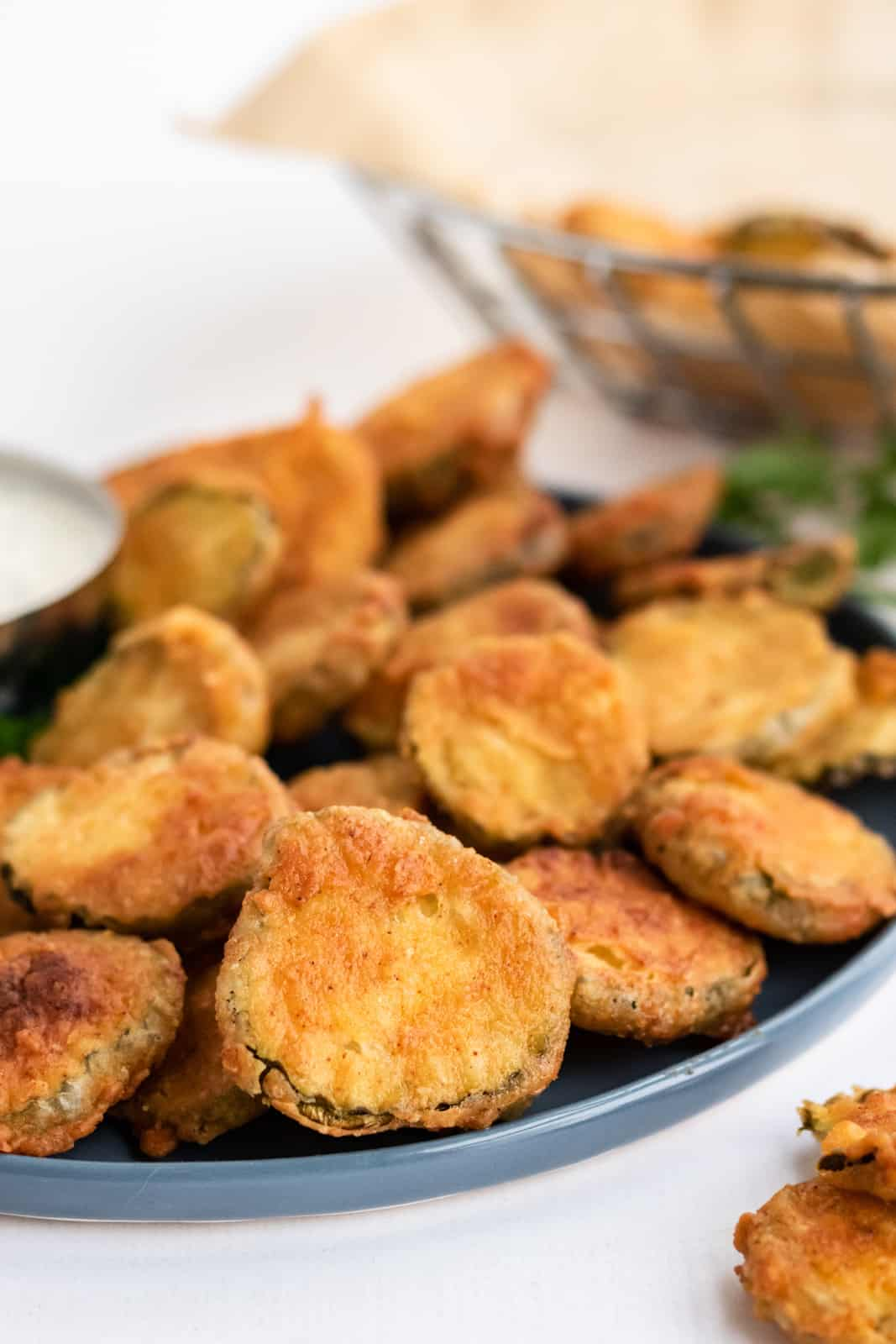 Close up of Fried Pickle Recipe on plate