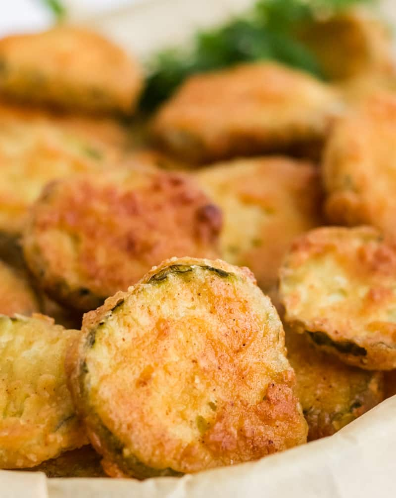 Close up of Fried Pickles in basket