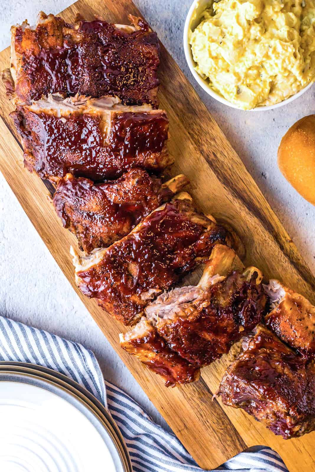 Overhead of Instant Pot BBQ Ribs cut into slices