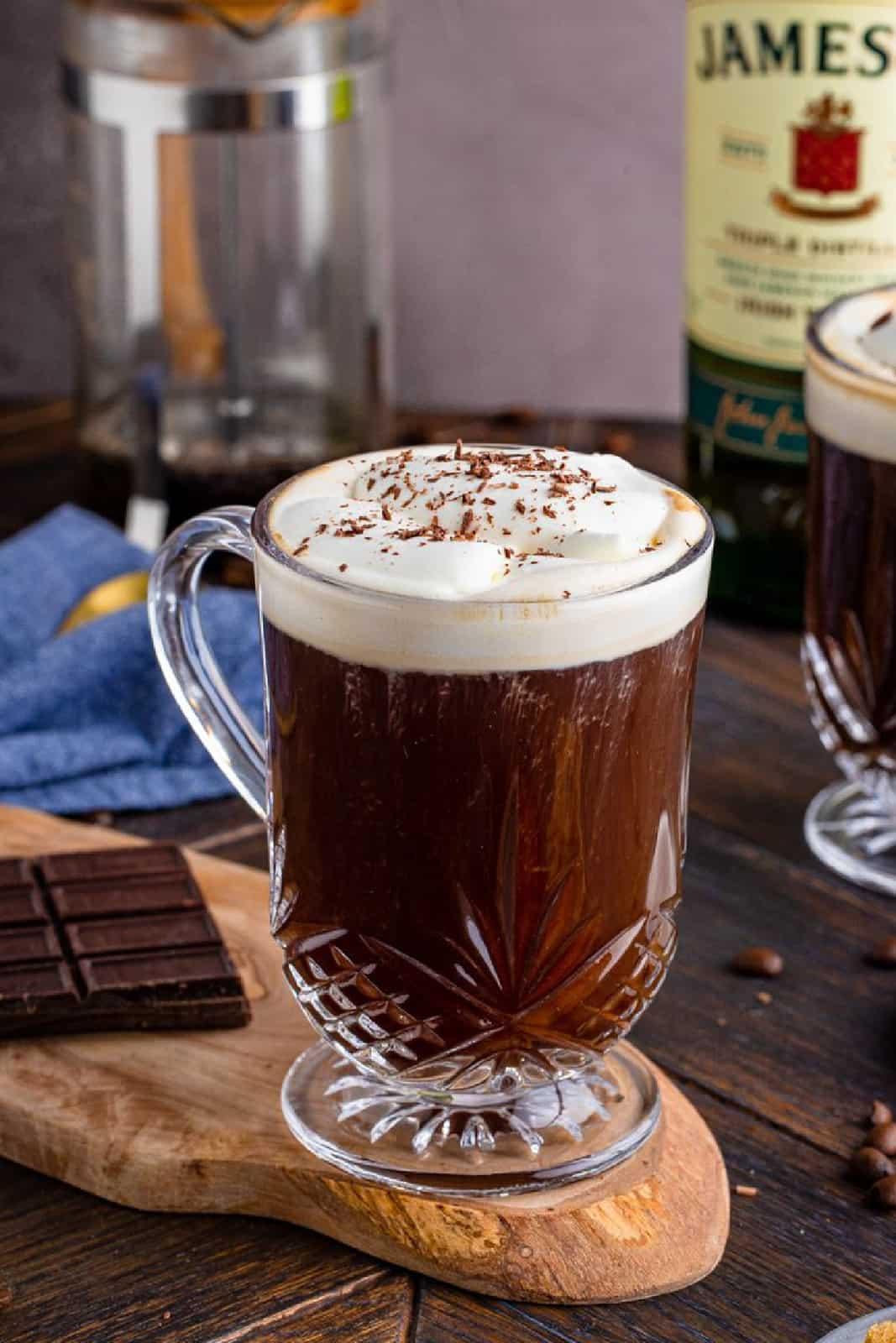 One mug of Irish Coffee Recipe with whipped topping