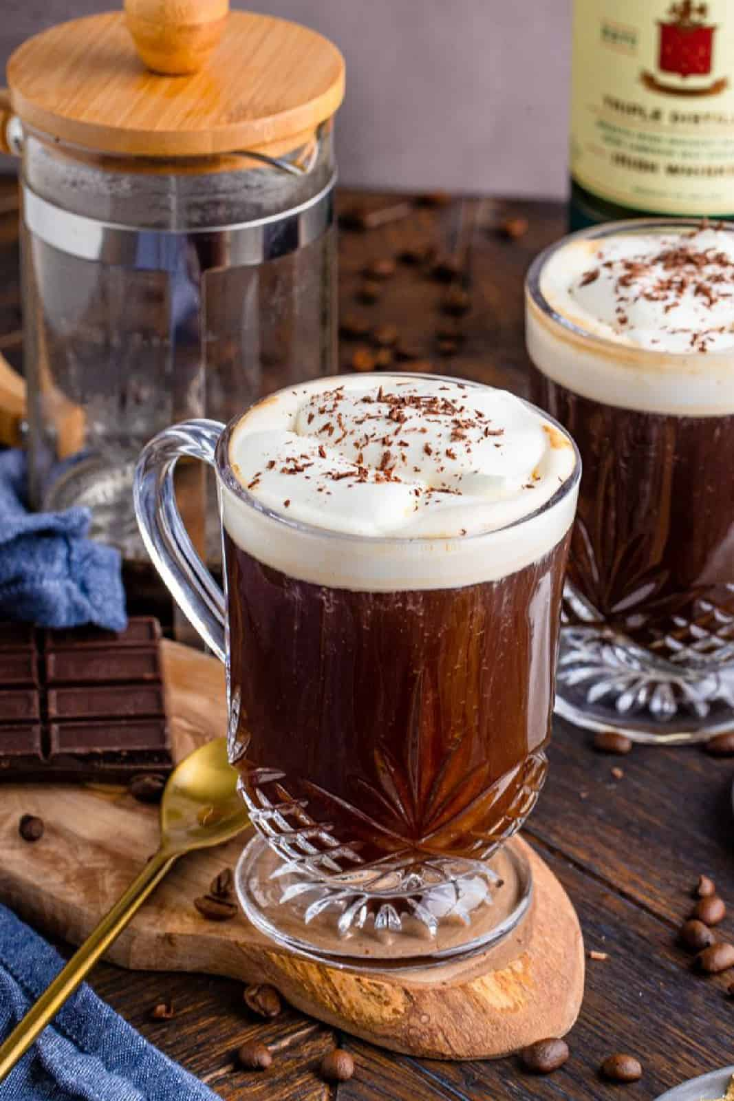 Close up of Irish Coffee Recipe with another mug in background