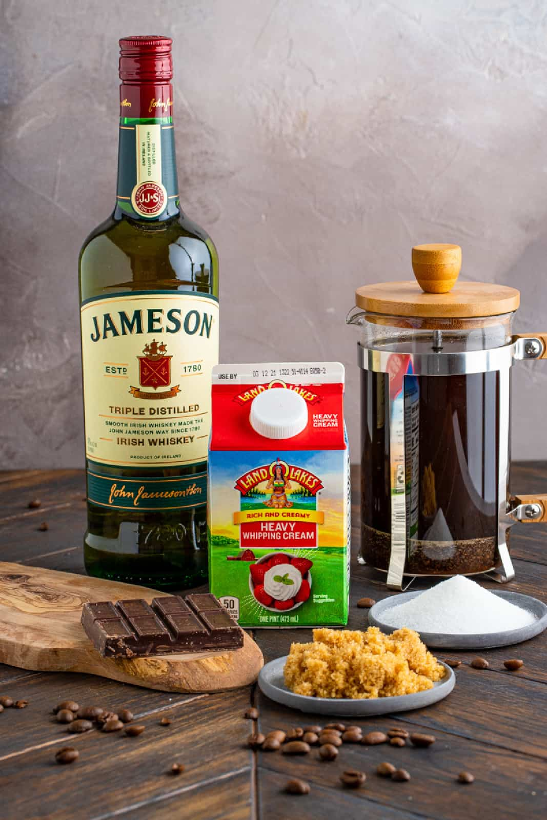 Ingredients needed to make an Irish Coffee Recipe