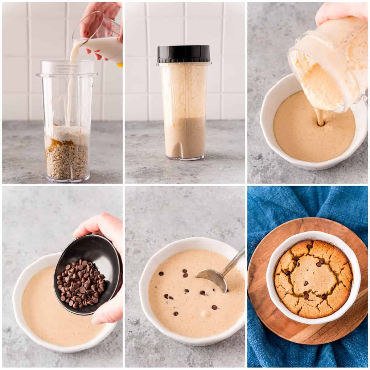 Step by step photos on how to make Peanut Butter & Chocolate Baked Oats