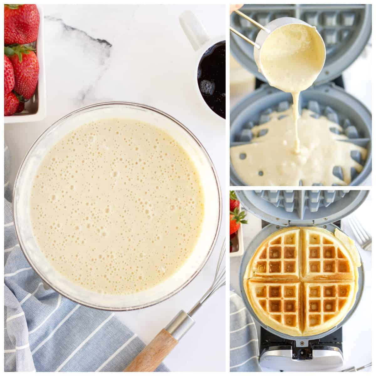 Step by step photos on how to make Belgian Waffles