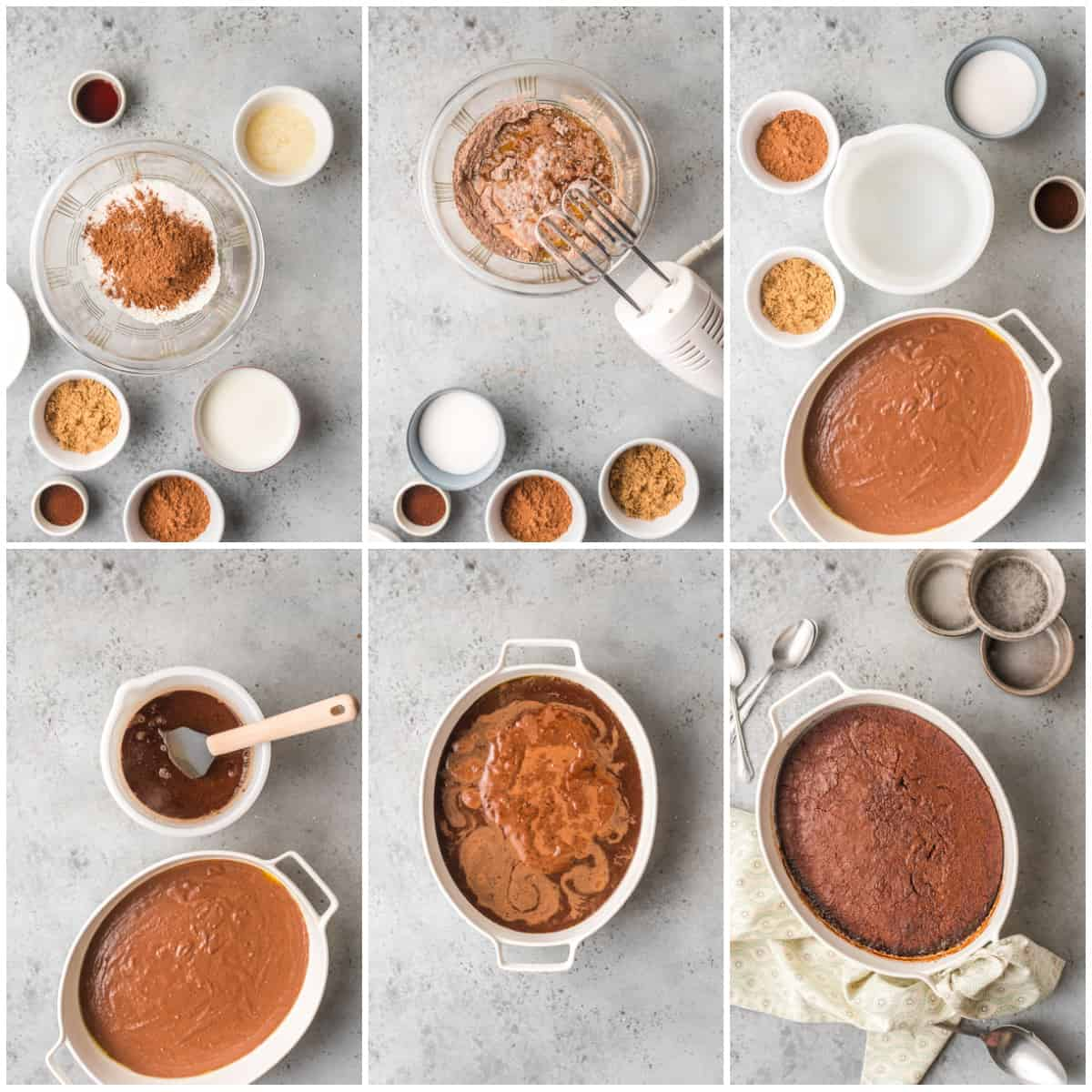 Step by step photos on how to make a Chocolate Pudding Cake