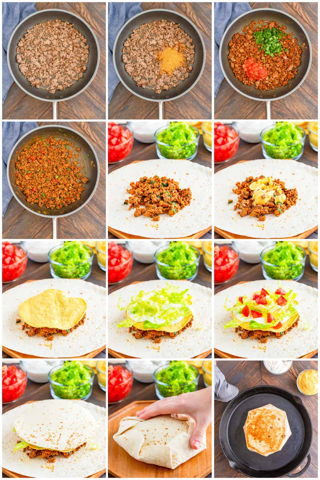 Step by step photos on how to make a Copycat Crunchwrap Supreme