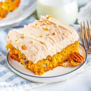 Close up of a slice of Carrot Cake on white plate square image