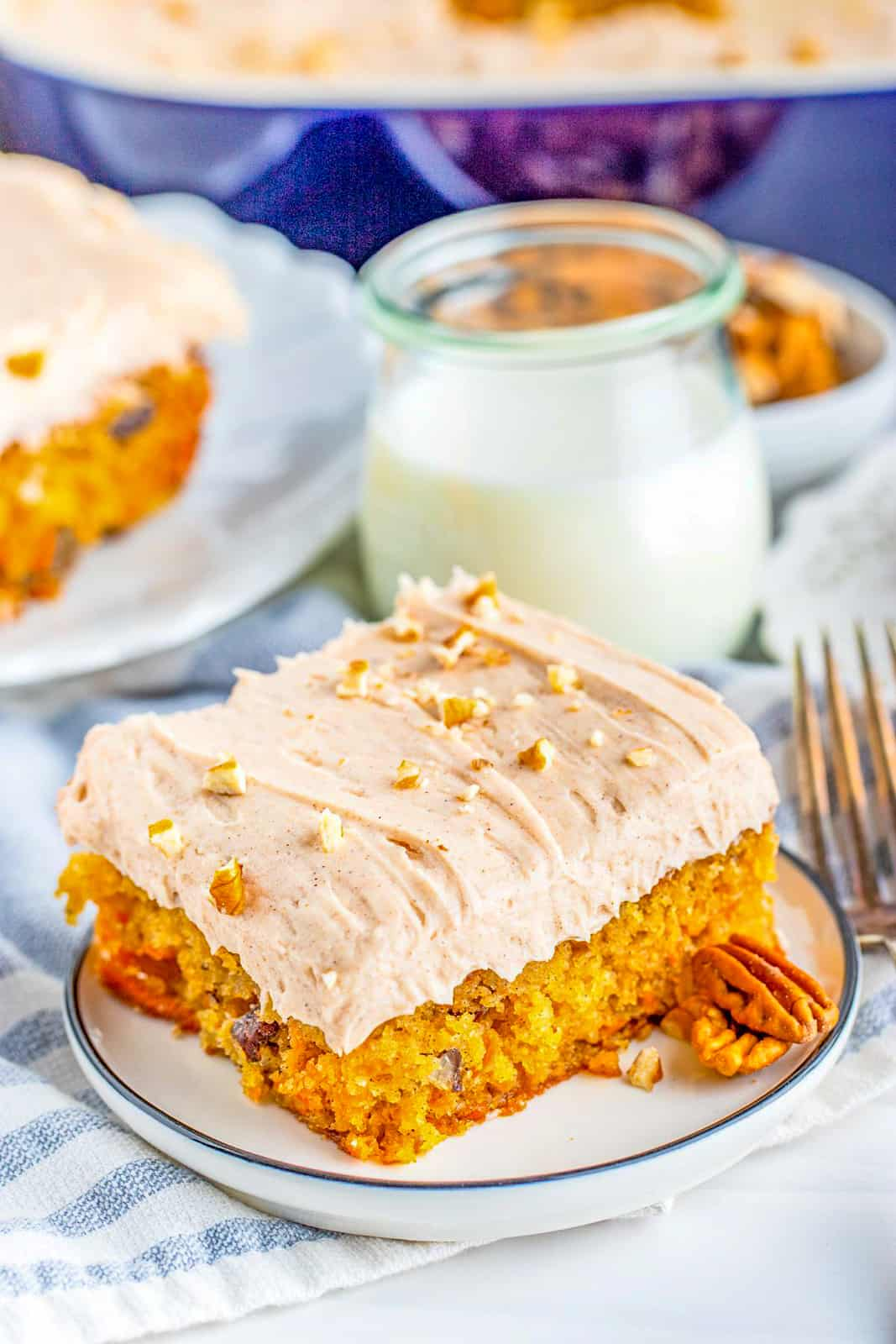 Slice of The Best Carrot Cake on plate