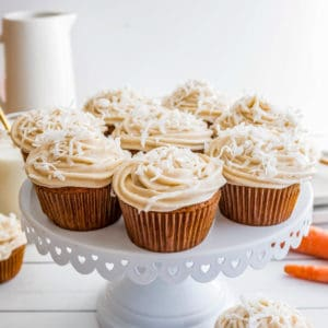 Carrot Cake Cupcakes on cake stand square image
