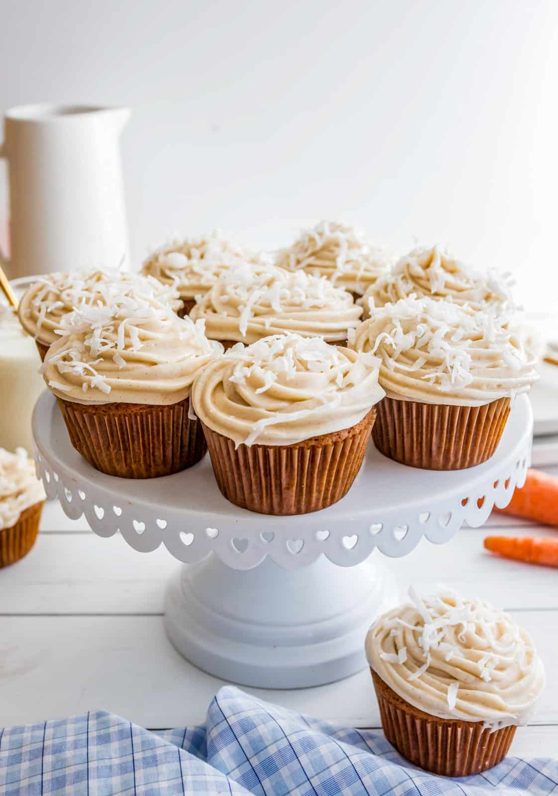 Cake stand with multiple Carrot Cake Cupcakes