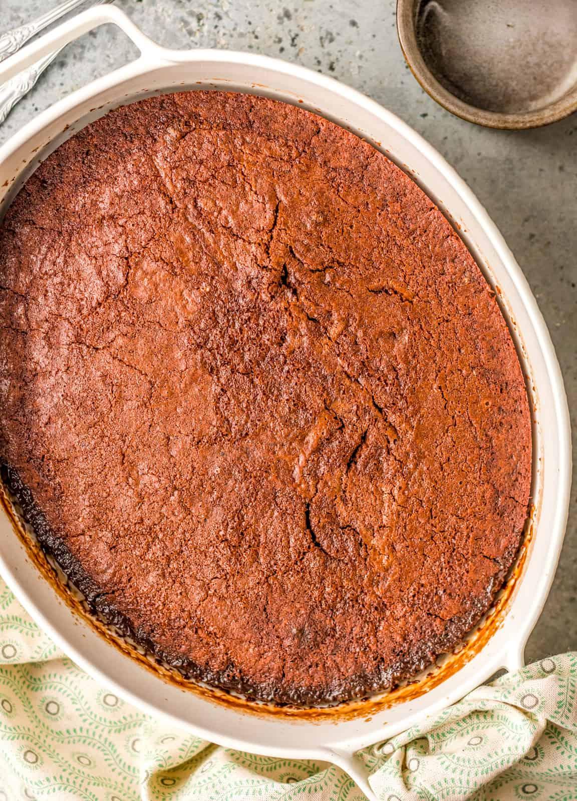 Finished cake in baking dish