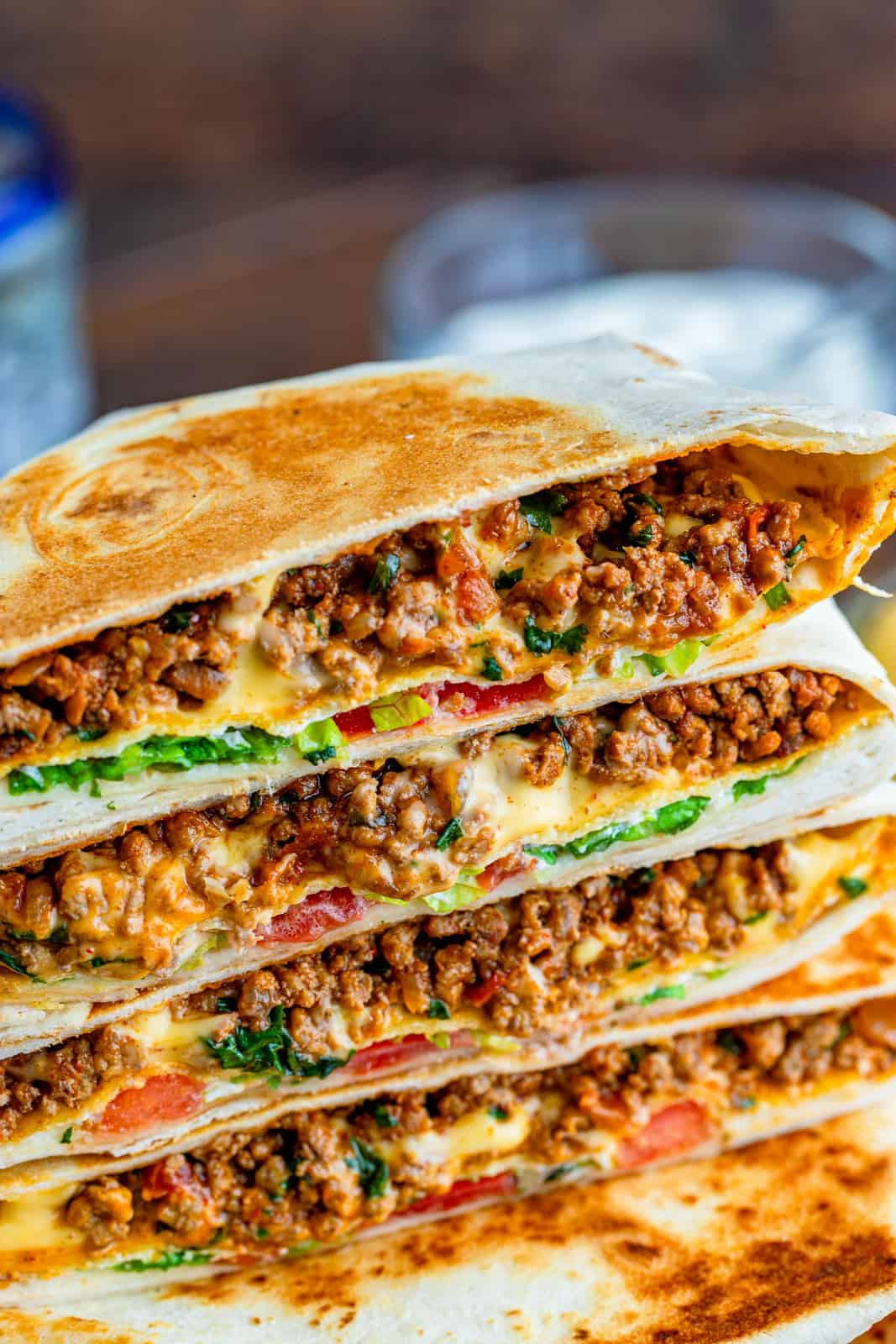 Close up of inside a Copycat Crunchwraps