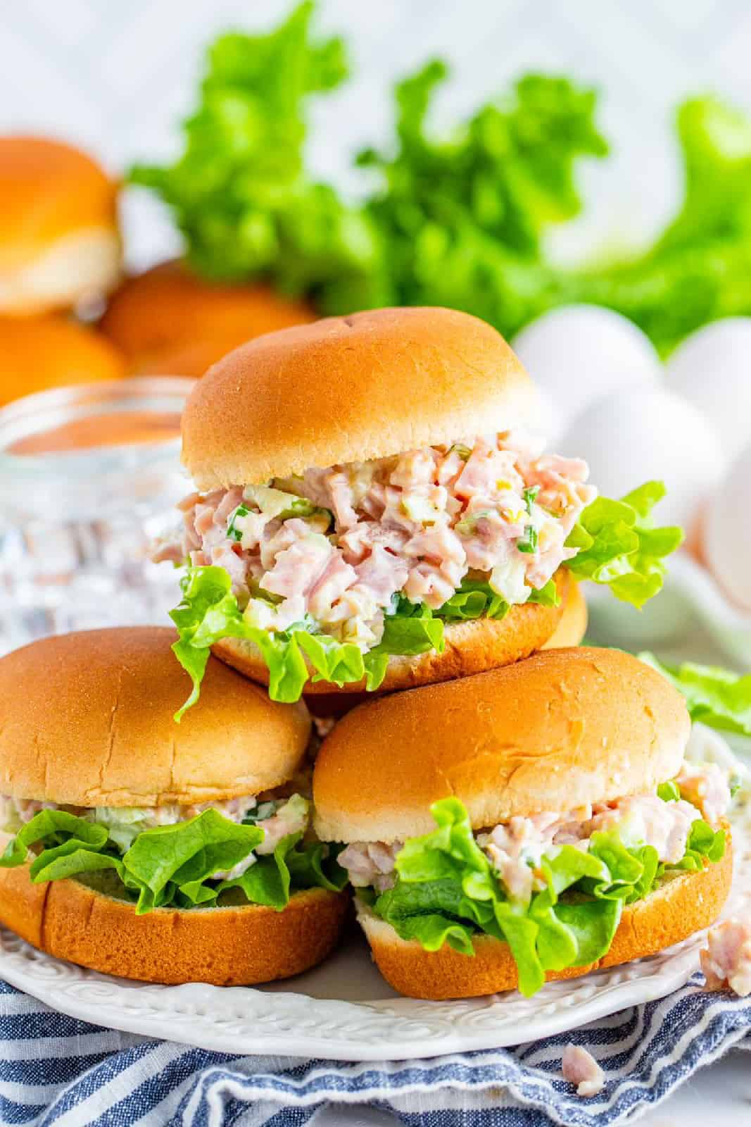 Stacked Ham Salad sandwiches
