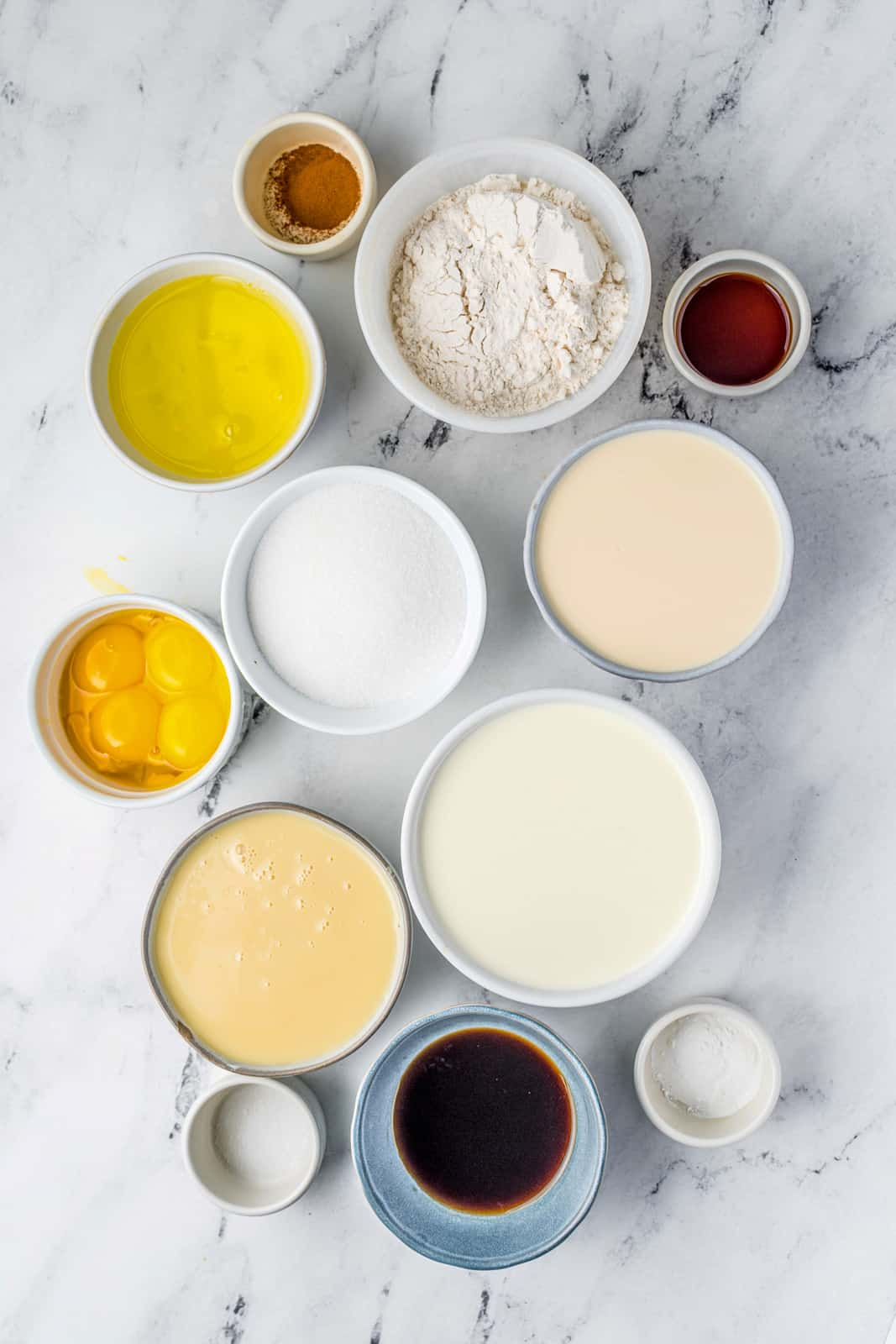 Ingredients needed to make Tres Leches Cake Recipe