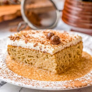 Close up of Kahlua Tres Leches Cake on white plate square image