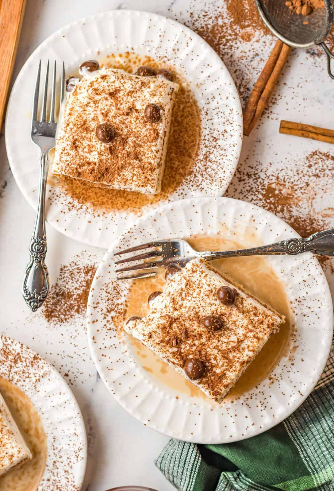 Overhead of two slices of Kahlua Tres Leches Cake Recipe