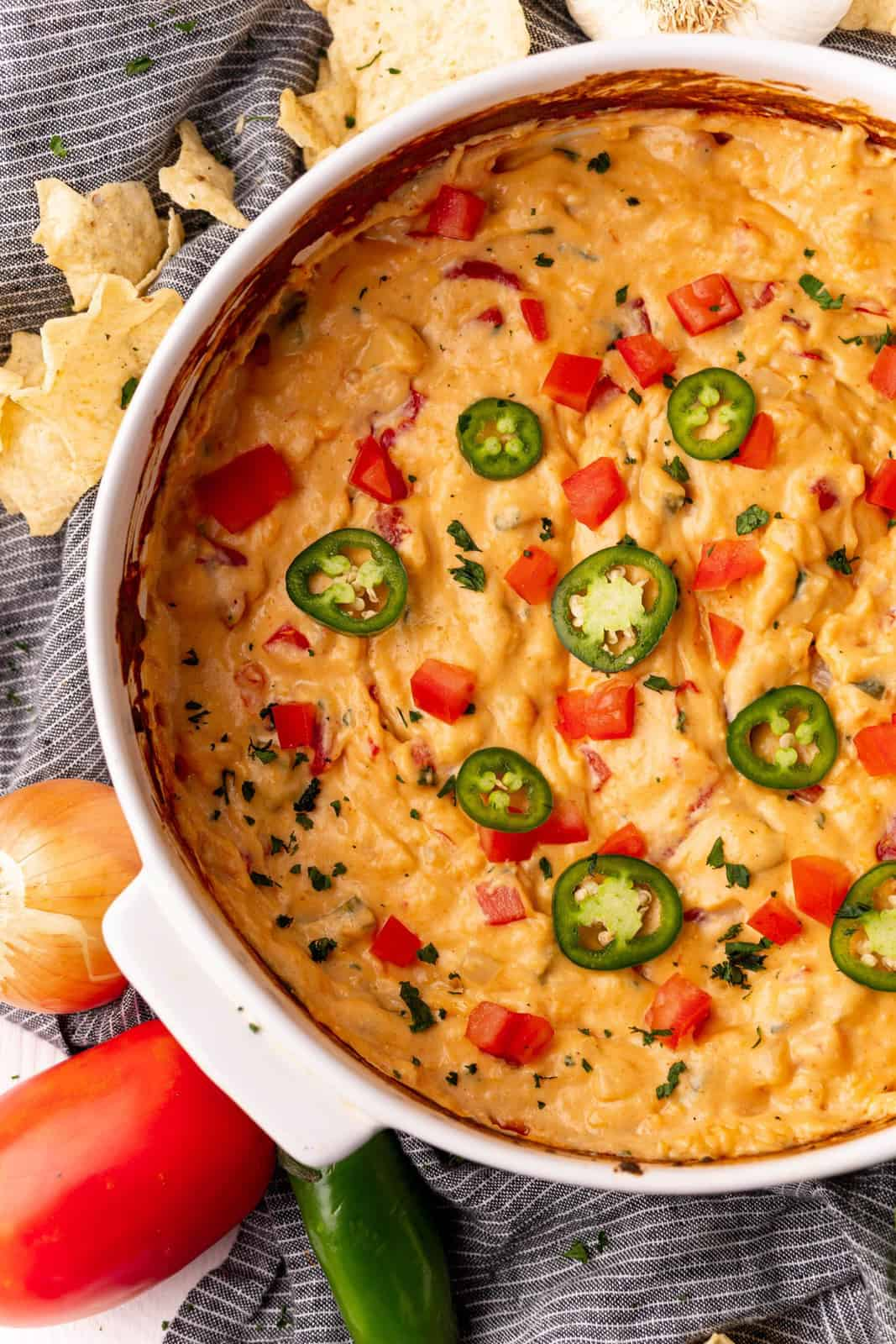 Overhead of Baked Queso Dip in baking pan