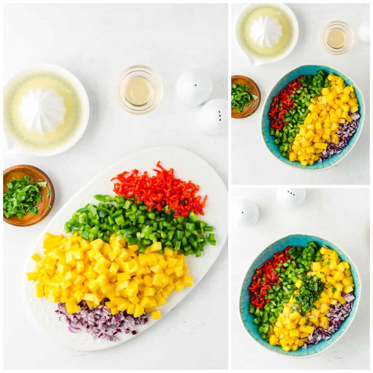 Step by step photos one how to make Mango Salsa