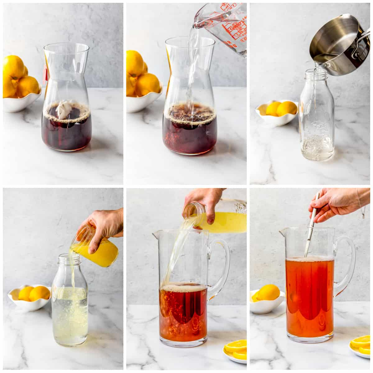Step by step photos on how to make an Arnold Palmer Drink