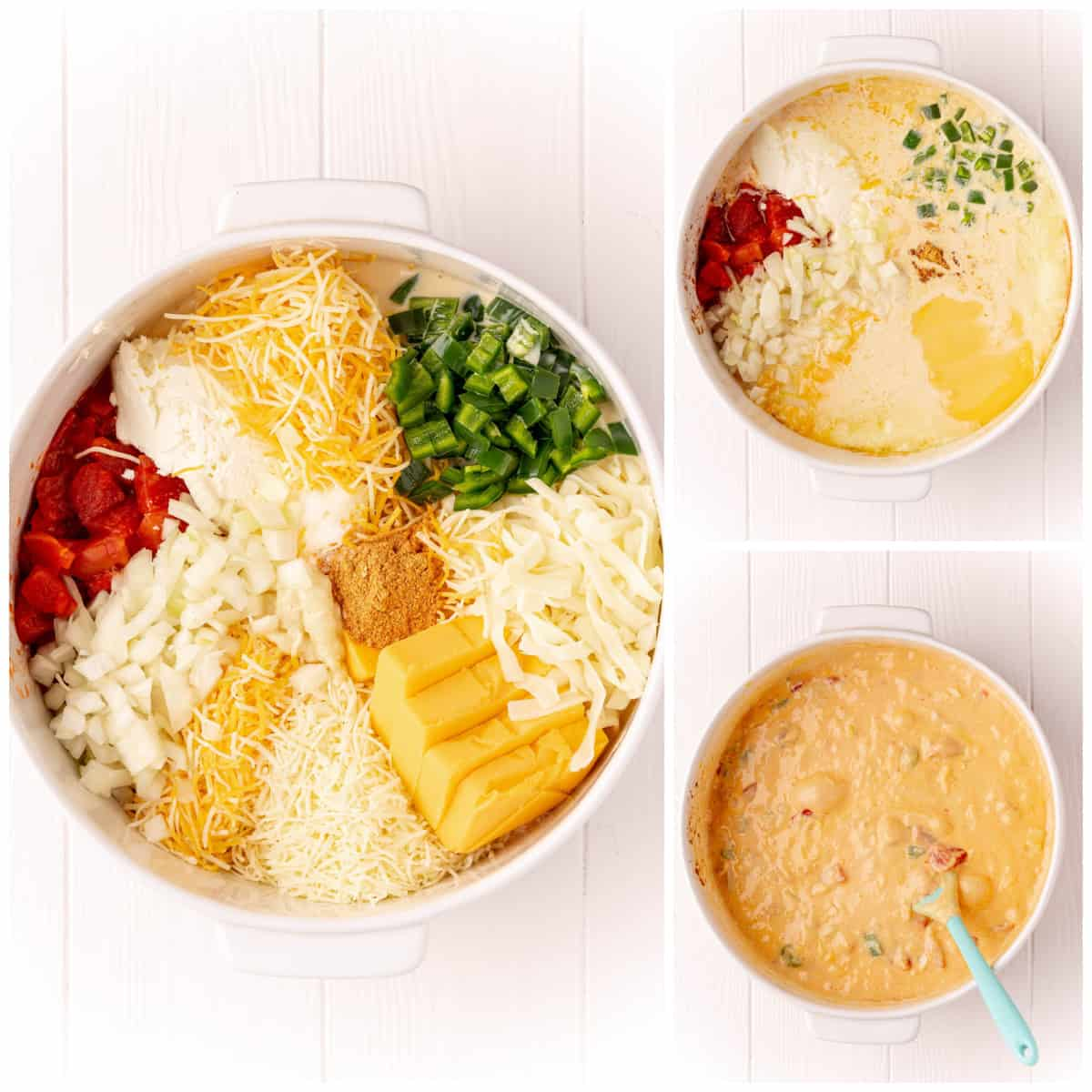 Step by step photos on how to make Baked Queso Dip