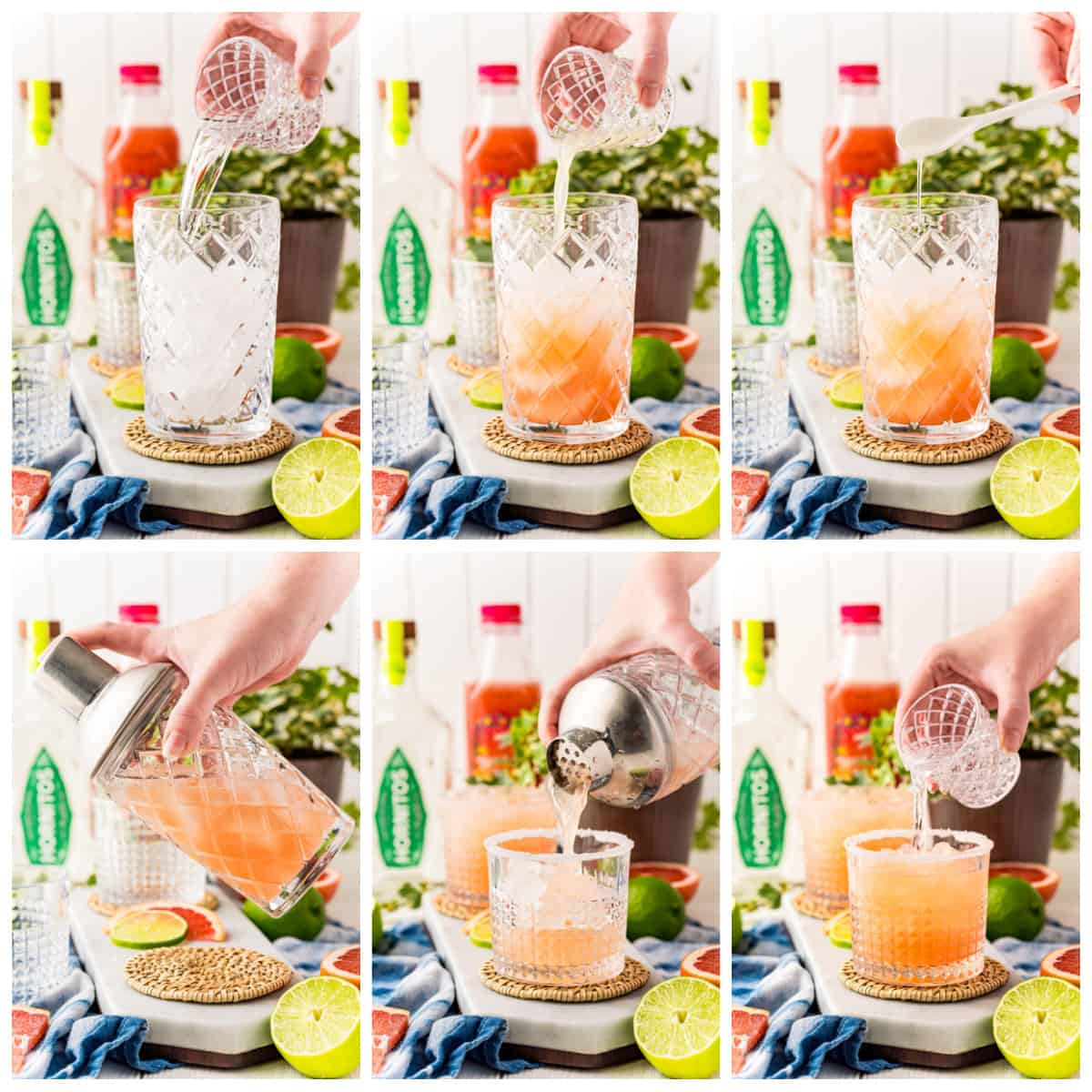 Step by step photos on how to make a Paloma Cocktail