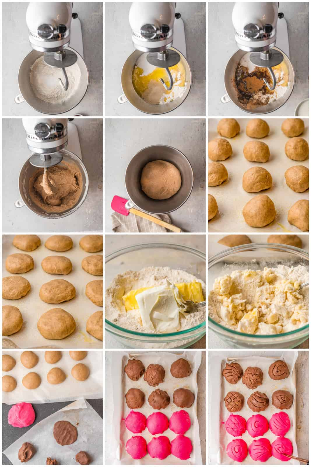 Step by step photo on how to make Conchas