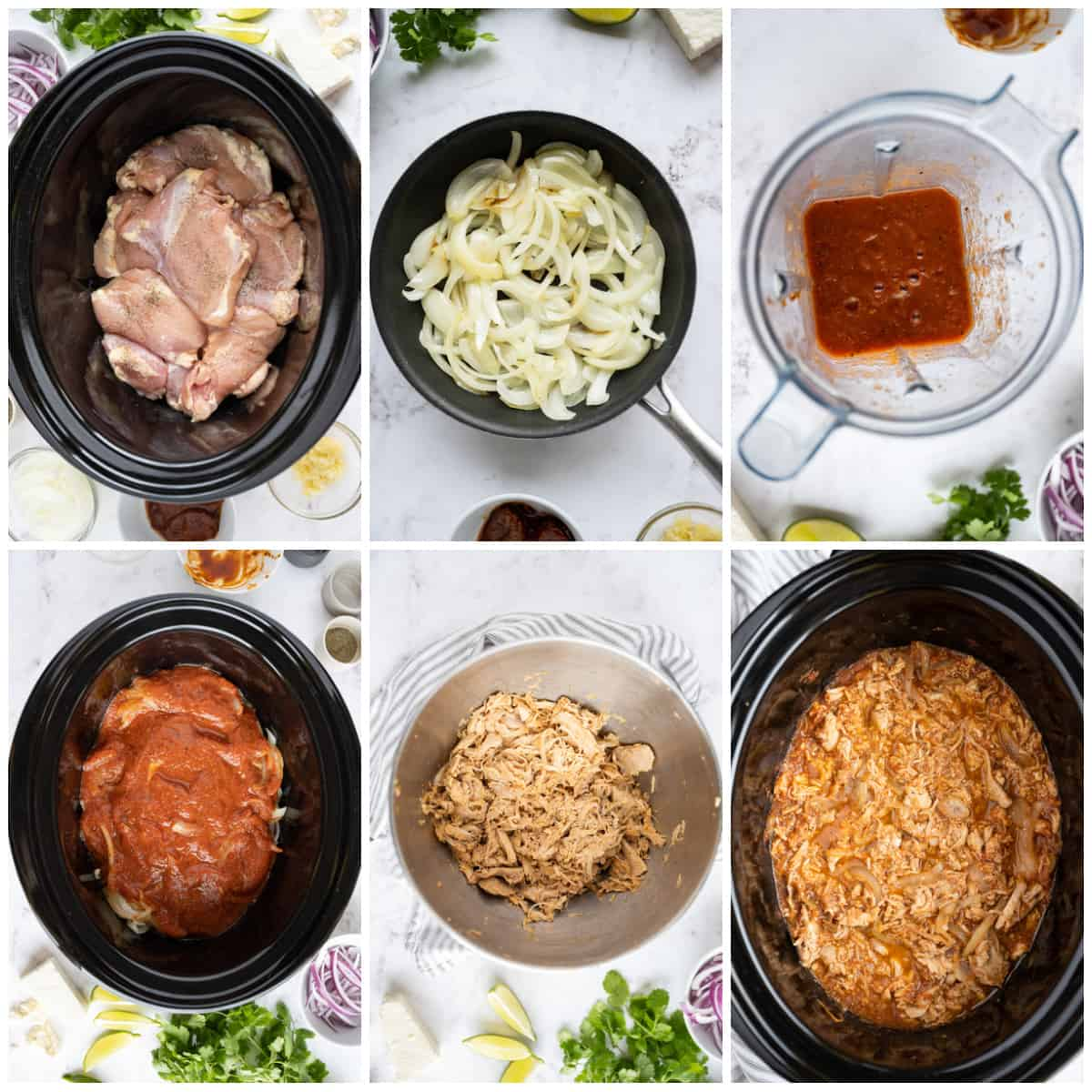 Step by step photos on how to make Slow Cooker Chicken Tinga