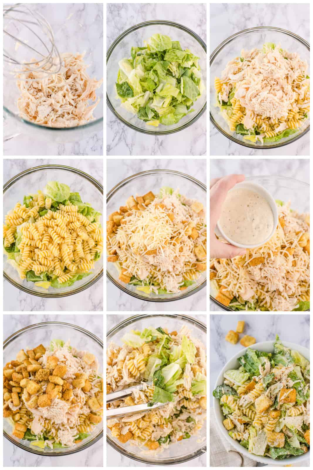 Step by step photos for making a Chicken Caesar Pasta Salad