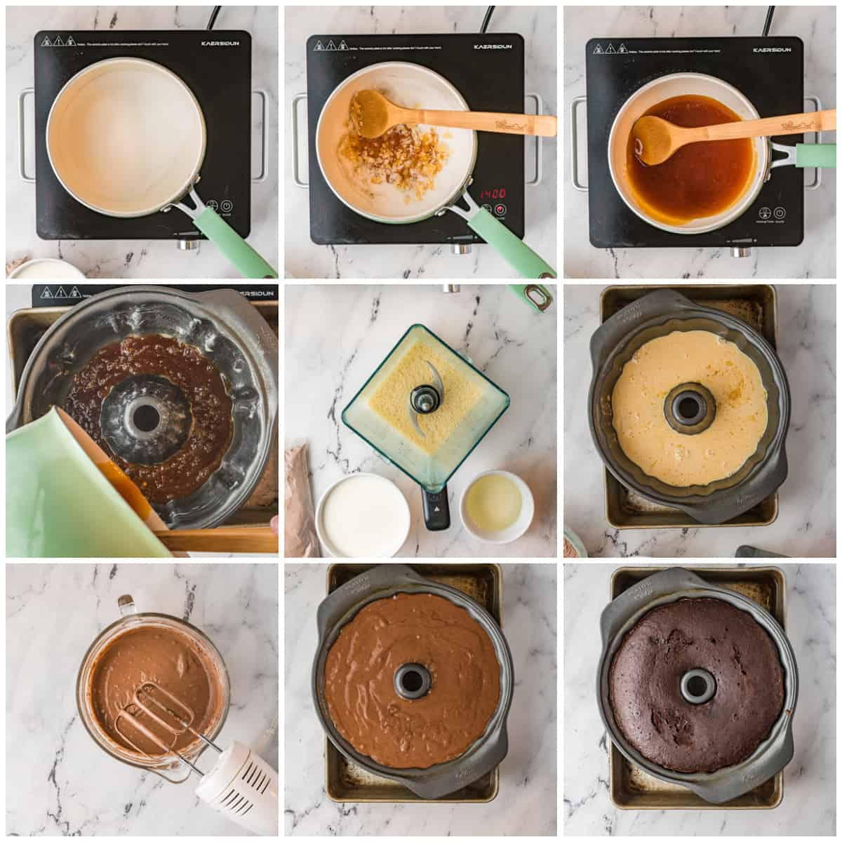 Step by step photos on how to make a Chocoflan Recipe